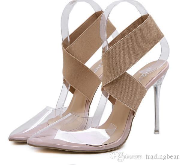 Plus size 35 to 40 41 42 elastic band cross strap nude transparent PVC clear high heels luxury women designer shoes