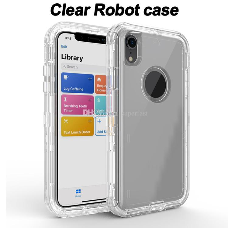 Transparent Heavy Duty Defender Case Shock Absorption Crystal Clear Case For Iphone XS Max XR 8 Plus Samsung Note 9 S10 No Clip OPP Bag