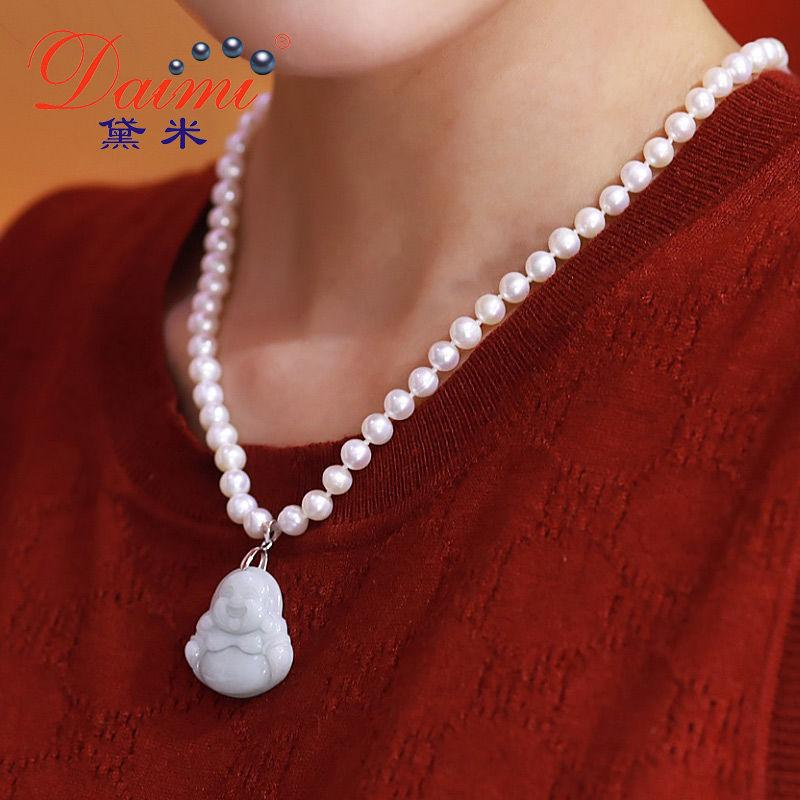 6-7mm Pearl Pendant Necklace Jade Maitreya Freshwater Pearl Pendant For Mother Gift Y19061003