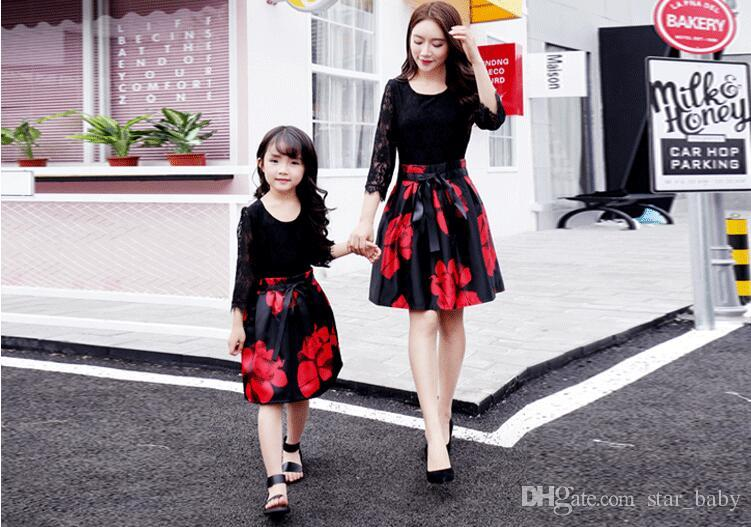 c9f03d04d3c Family Clothing Girls Parent-child Dress Autumn Net Red Tremble Same  Foreign Mother Daughter Dress Ins Super Hot Fashion Suit Wt1760 Adult Kid  Printed ...