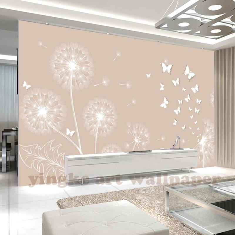 Laygaol 3D stereo beige dandelion butterfly simple Modern style wallpaper  bedroom TV background personality wallpaper mural