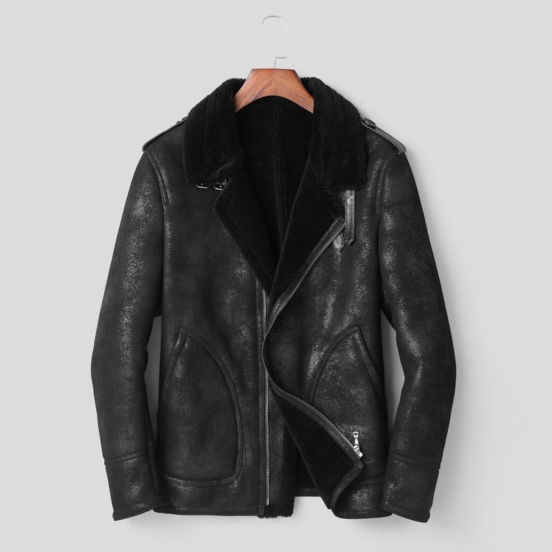 2019 High Quality Original Shearling Coat Men Leather Jacket Men