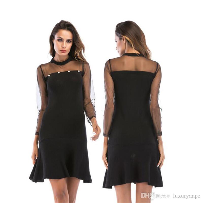 a6dd13c73e4bd Großhandel Weibliche Sommer Spitze Getäfelten Schwarzes Kleid ...