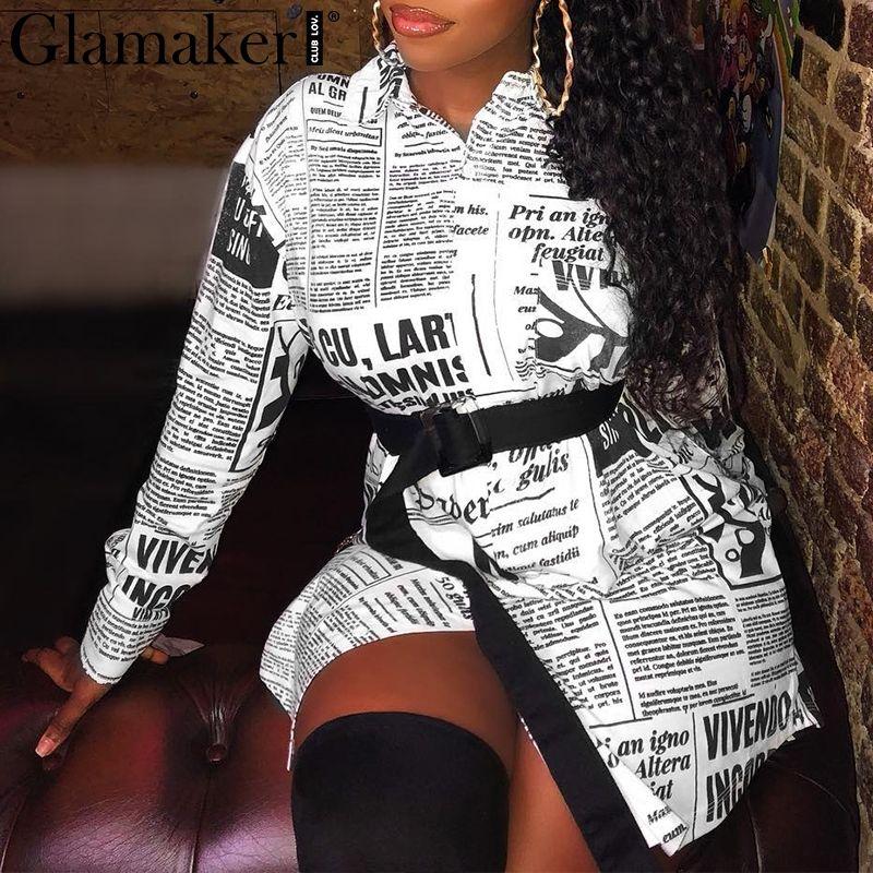 e569c106d Compre Glamaker Jornal Impressão Carta Mulheres Manga Longa Sexy Do Vintage Plus  Size Top Blusa Branca Feminina Inverno Streetwear Shirt Tops De Fabian05