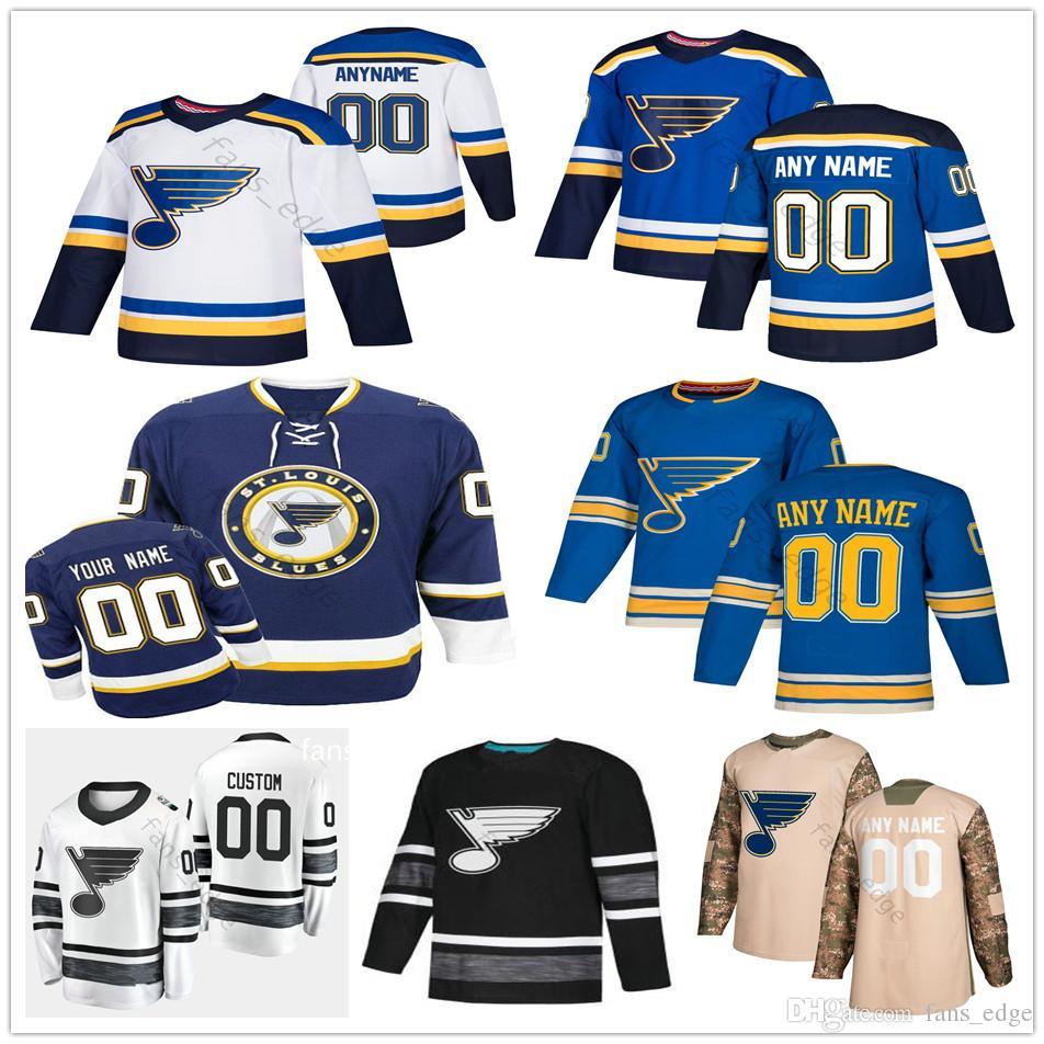 save off da212 2c8b5 Custom St. Louis Blues #34 Jake Allen 19 Jay Bouwmeester 6 Joel Edmundson  50 Binnington Men Women Kids Youth Hockey Jerseys
