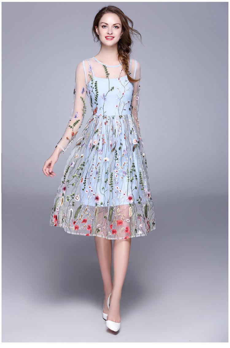 57b7faed6125c Satın Al Elbiseler Gece Elbiseleri Abiye Giyim Yeni 2019 Uzun Kollu  Gelinlik Modelleri Moda Gri Nakış Çiçek Parti Robe De Soiree, $101.27 |  DHgate.Com'da