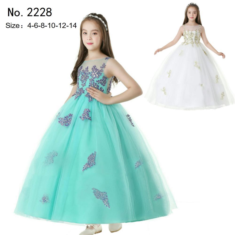 c57e58604 Compre Envío Gratis Vestido De Fiesta Infantil 2019 Recién Llegado Vestidos  De Niña De Color Verde Por 14 Años Apliques De Encaje Para Niños Vestidos  De ...