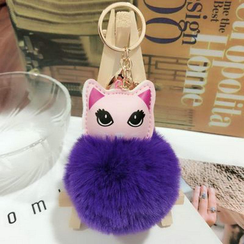 SONGLONG Keychain Pompom Cat Hair Ball Key Buckle PU Material Bag  Decoration Woolen Car Pendant Women Key Ring Holder Pompoms Monkey Fist  Keychain ... f091761643