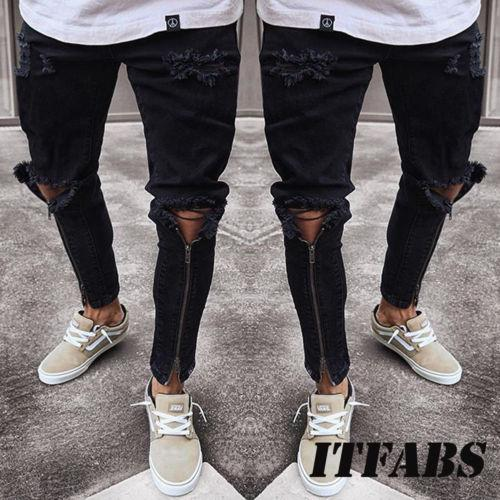 5842156c6f8 2019 Plus Size Jeans Men Fear Of God Ripped Skinny Jeans Men Slim Fit Urban  Straight Zipper Leg Mens Jeans Pencil Cool Street Wewar From Whiteheat, ...