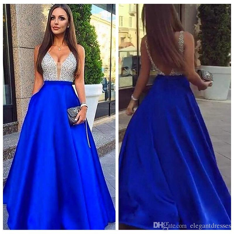 2019 V-Neck Bling Bling A-Line Prom Dresses Sexy Backless Customized Long Formal Special Occasion Party Gowns Sleeveless Evening Party Gown