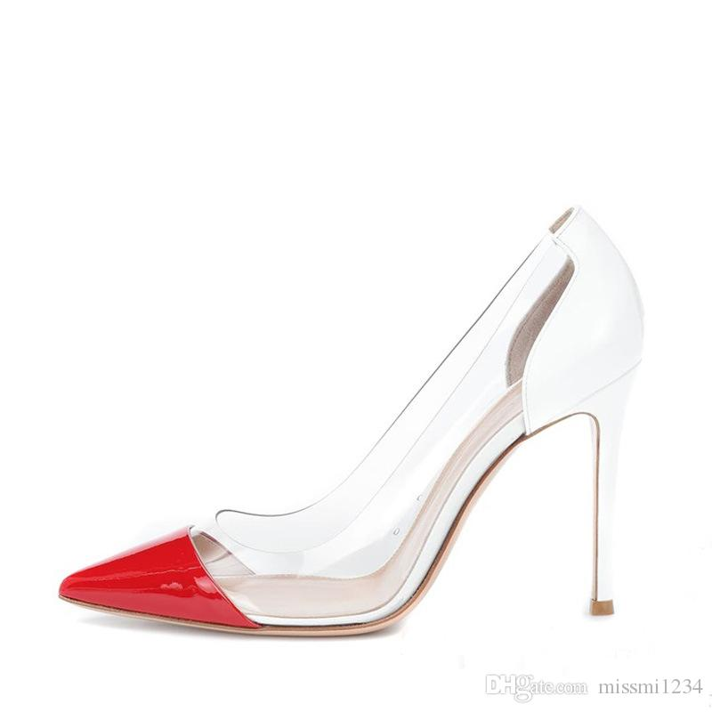 f86a877d5c888 Dancing Party Shopping Fashion PVC Stitching High Heel Shoes Patent Leather  Pointed Toe Fine Heel Euro American Style Women Stiletto Heels Wholesale  Shoes ...
