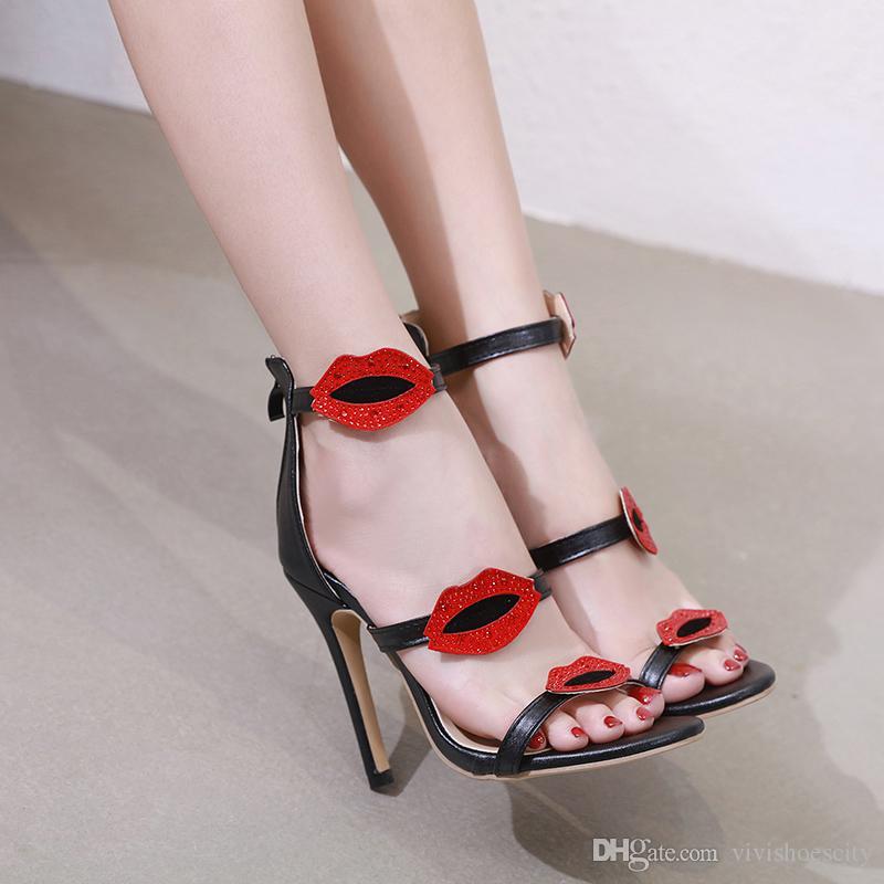 ab28fcfcd33a6 Compre 2019 Moda Mujer Fiesta Club Zapatos Negro Labios Rojos Rhinestone  Correa Del Tobillo Tacones Altos Sandalias Tamaño 35 A 40 A  29.92 Del ...
