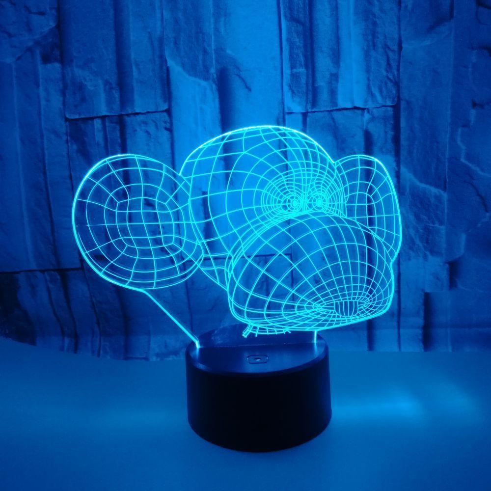Touch Motif Commerce Colorful Lampe 3d Led Ambiance De Extérieur Bureau Cadeau Télécommande Nouveau Singe Décoration QxrhdBtsC