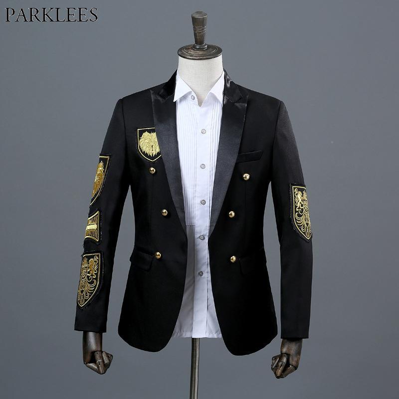 Chaqueta Oro De Negro Compre Medalla La Traje Bordado Hombres RBwR8qv1