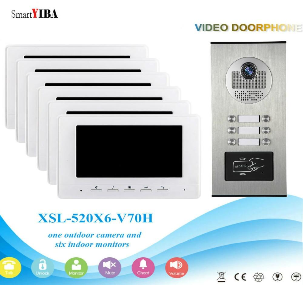 3f9708438 Compre Sistema De Entrada De Video Portero SmartYIBA Con Conexión De Cable  De 7 Monitor LCD Llaves RFID Desbloqueo De Videoporteros Kits De Teléfono  Para 6 ...