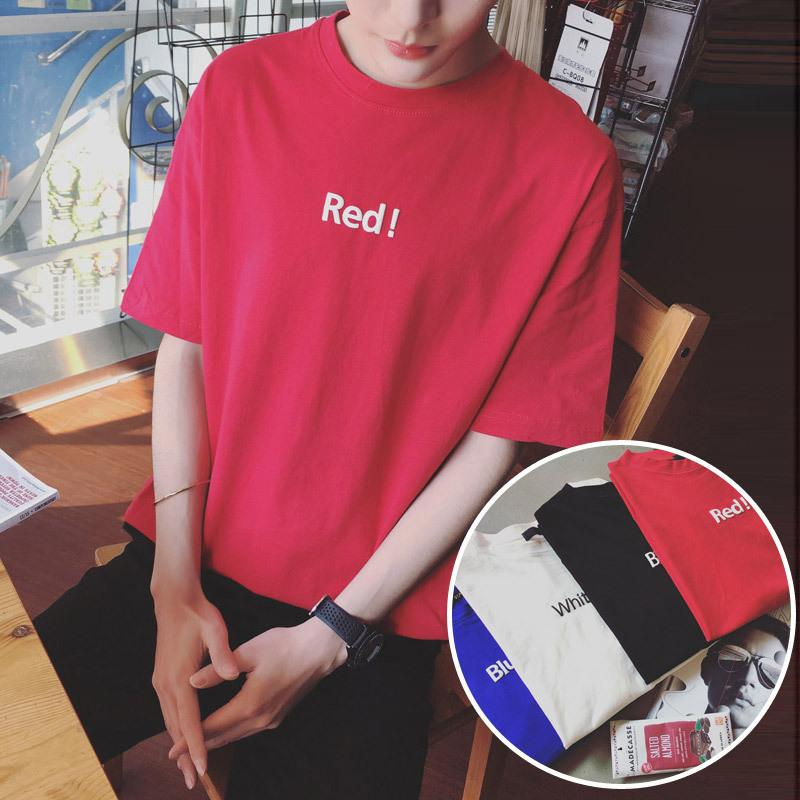 Cool2019 Wear Men's Xia Men Solid Color Printing School Wind Round Neck Short Sleeve T The Tide