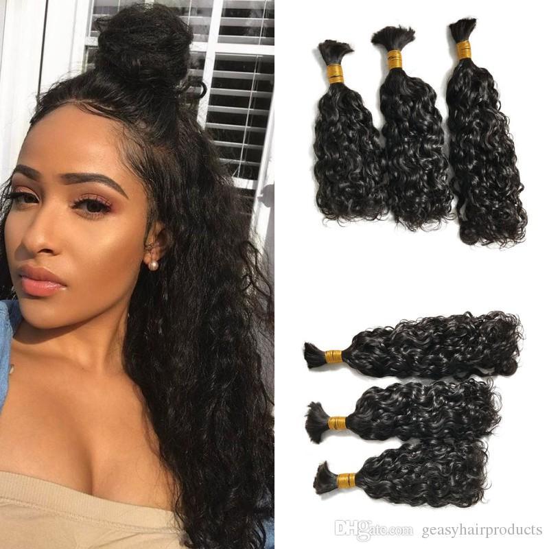 Water Wave Bulk Hair 3 pieces Malaysian Human