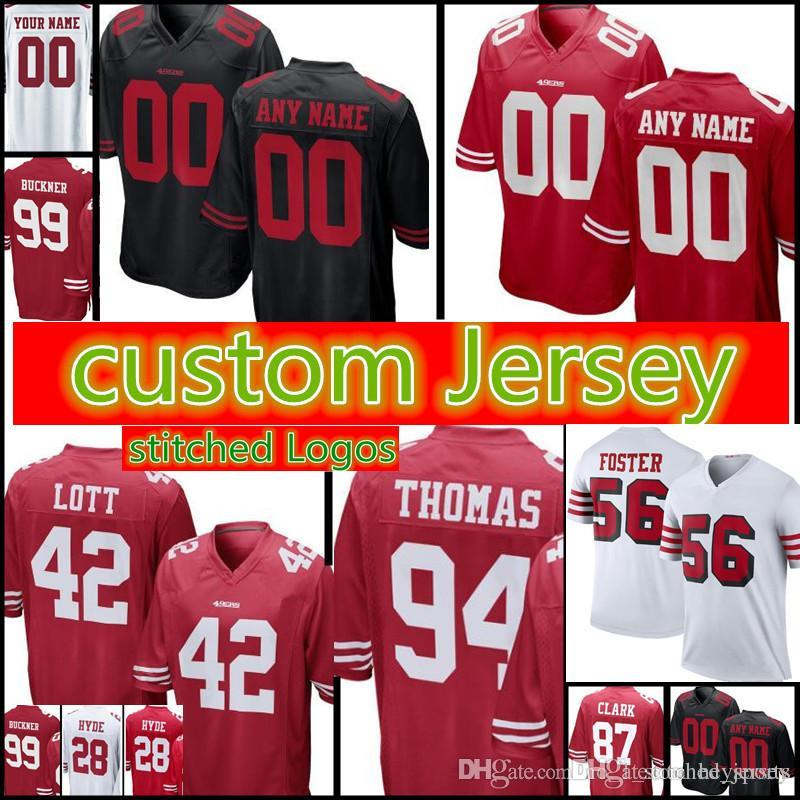 San Francisco 49ers Custom Jersey Mens 42 Ronnie Lott 44 Tom Rathman