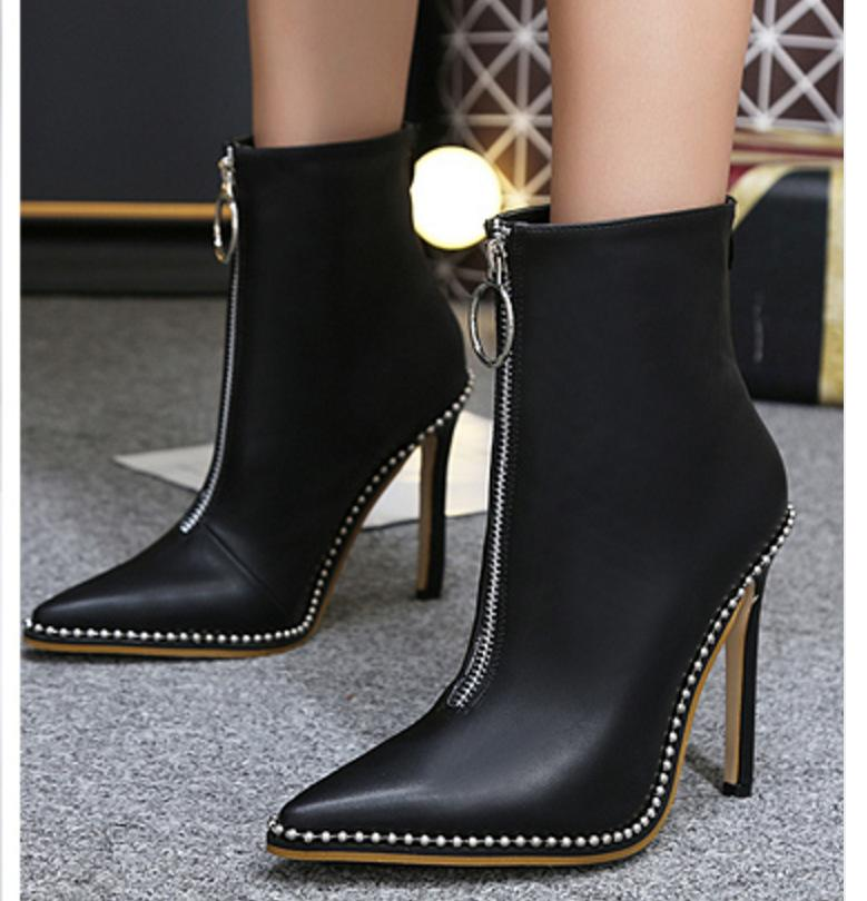 28af16f16736 Winter High Heels Ankle Boots For Women Sexy Stiletto Pu Leather Pointed Toe  Shoes Ladies Black Zipper Punk Boots Botas Mujer Black Combat Boots Chelsea  ...