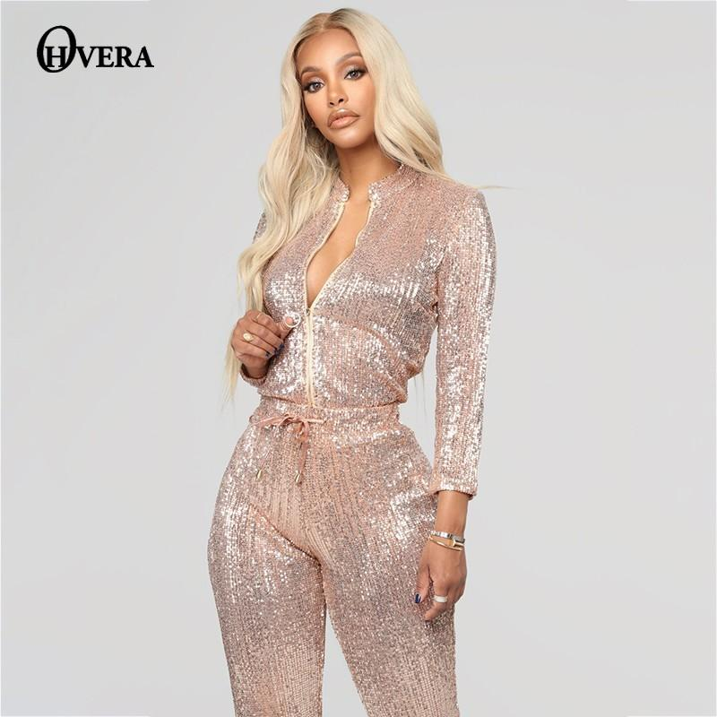 7b5edfa0 Ohvera Long Sleeve Bodycon Party Mesh Sequin Jumpsuits For Women ...