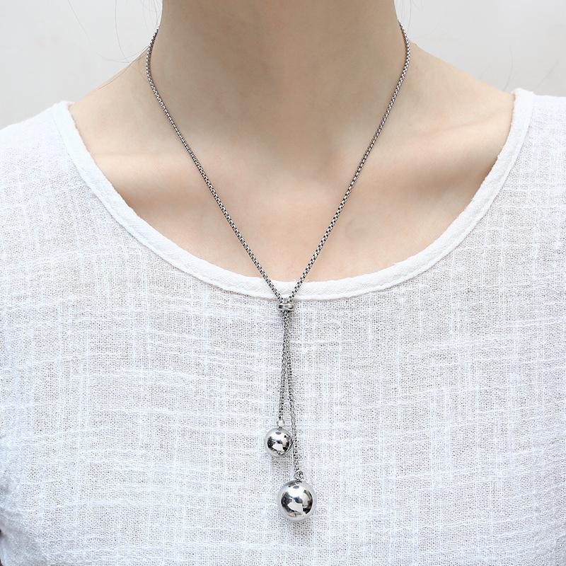 OUFEI Pendant Necklace Beads Stainless Steel Long Sweater Chain Fashion Jewelry Bohemian Chain Women Necklace 2019