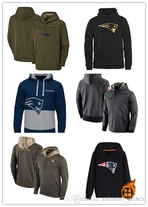 9c7e978eb 2019 2019 New Patriots Fleece Olive Salute To Service KO Performance  Football Hoodie Embroidered Patchwork From Rence
