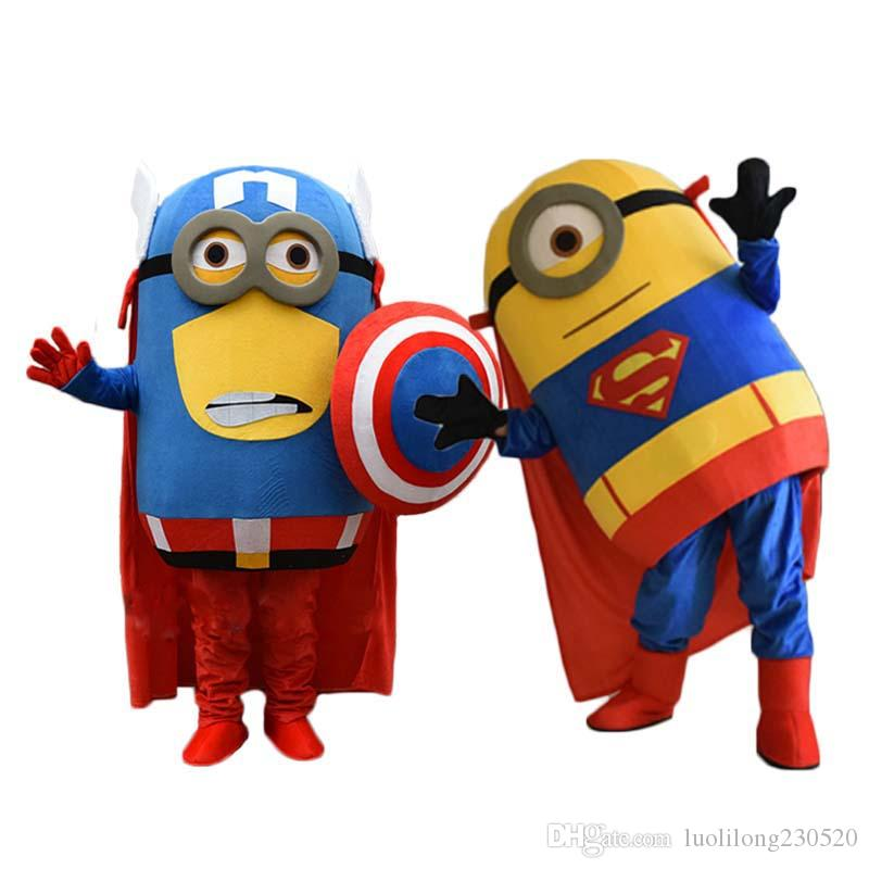 Minions Christmas.New Custom Superman Captain Minions Mascot Costume Halloween Christmas Birthday Party Anime Costumes
