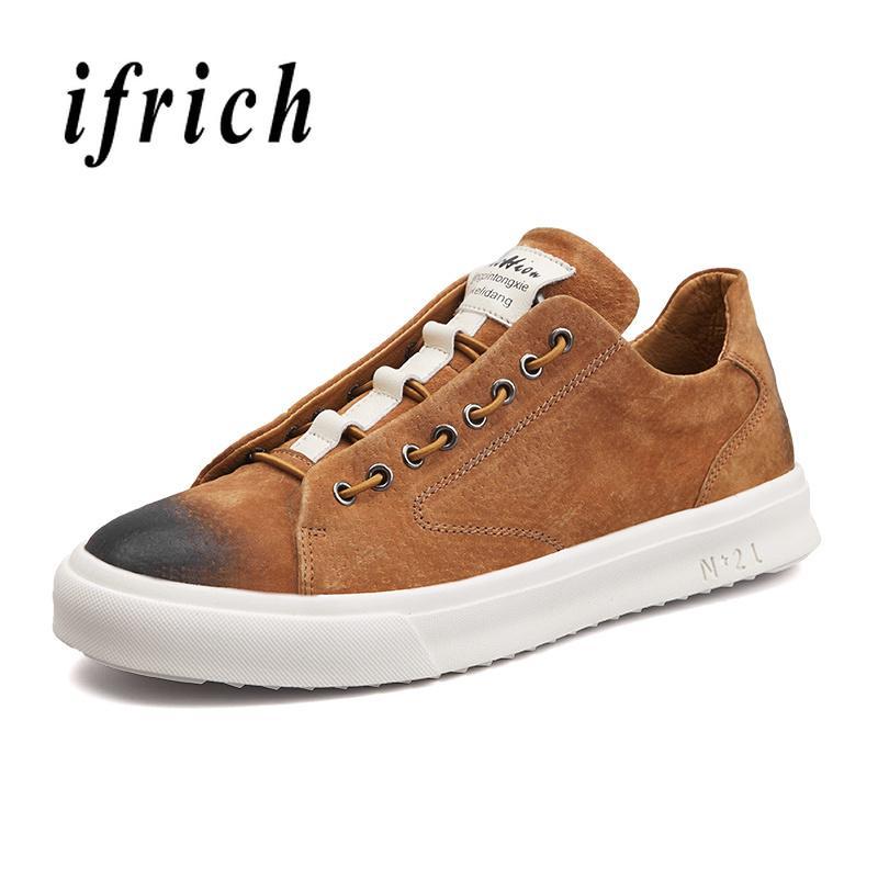 bb9072e15dd Compre Homens Juventude Casual Calçados De Couro Genuíno Macho Moda Tênis  Confortáveis Homens Marca De Luxo Sapatos Marrons Cinza Retro Sapatos De ...