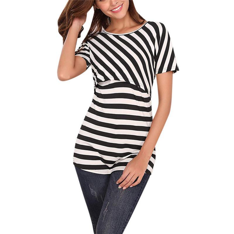 87b7218d6fa Women Pregnant Maternity Nursing Stripe Breastfeeding Top T-Shirt Women  summer fashion Multi-Mother's Breastfeeding Splicing Top