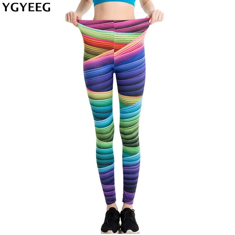 wholesale New Stretch Print Legging 19 Designs Colorful Ribbon Cool Painting Star Legin Women Activewear Bird Lip Grid Track