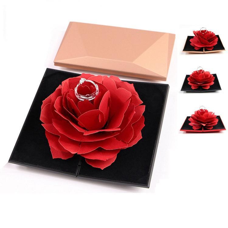1e16ee22b Women Foldable Rose Ring Box Romantic Creative Lady Jewelry Rings Storage  Case Valentine's Day Small Gift Box Home Decor TTA695