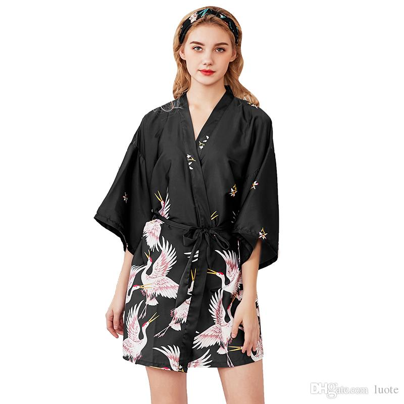 af47e47cac5 Silk Robes Women Sleepwear V-Neck Summer Dress Robe Half Sleeve Women s  Pajamas Sexy Bathrobe Dressing Gowns Night Bathrobes