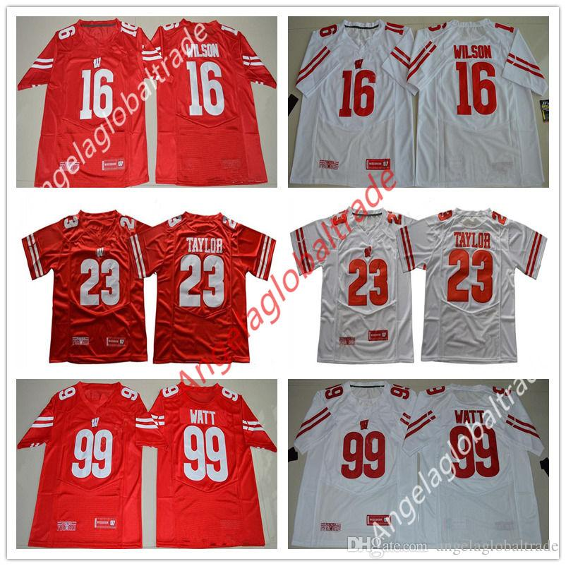 reputable site 08b4e 81163 Men s NCAA Wisconsin Badgers Jersey 23 Jonathan Taylor 16 Russell Wilson 99  JJ Watt College Football Red White University jerseys Stiched