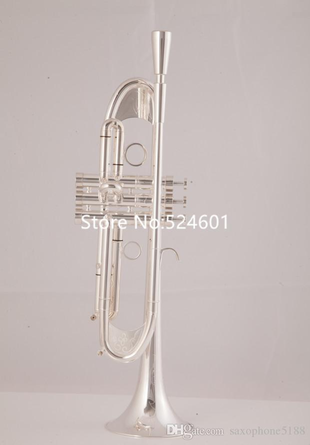Falling Tune Bb Trumpet TR-305GS sliver Plated Musical International musical instrument with All accessories Free Shipping