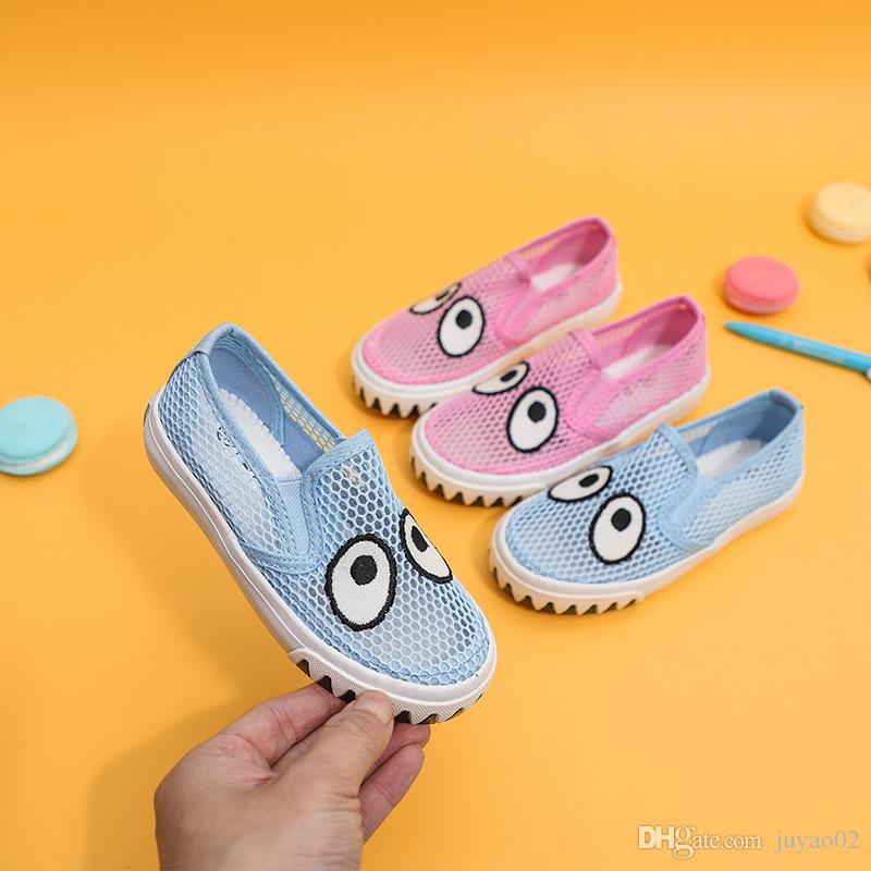 Children's Casual Walking Cute Eyes Sports Shoes Boy Girl Beach Hollow Breathable Girls Running Shoes Net Sandals Shoes