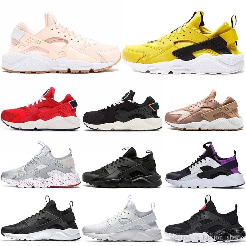4.0 1.0 Zapatos Huarache clásicos para hombre mujer zapatos para correr Rosa Triple Blanco Negro Rojo para hombre zapatilla de deporte dseigner