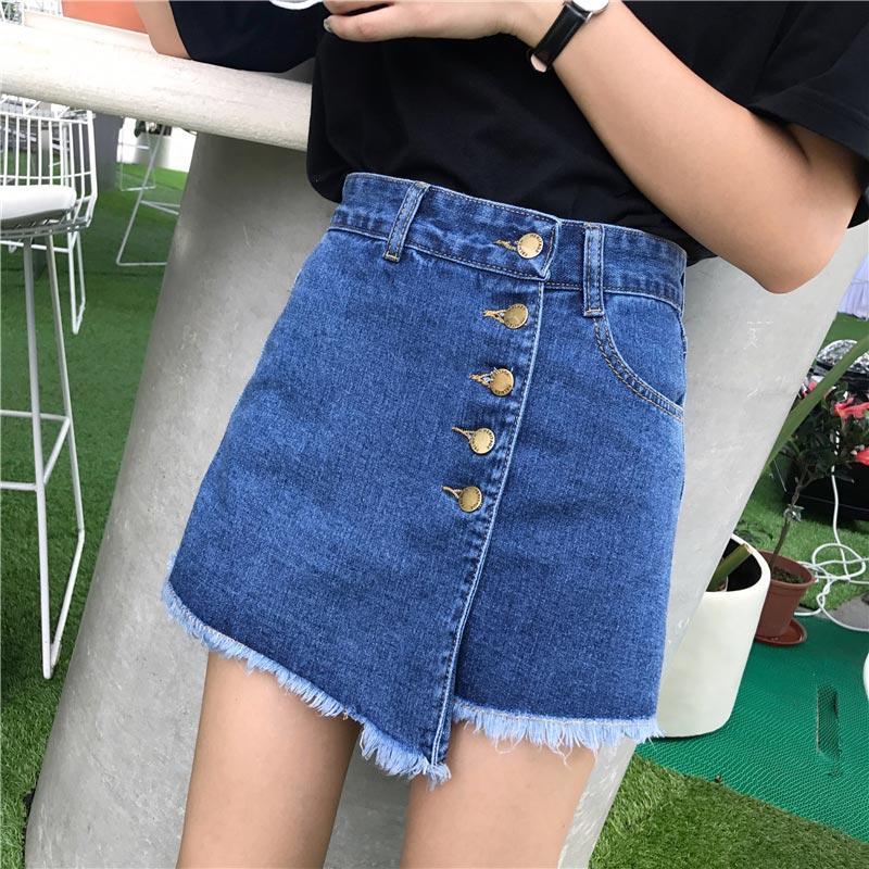 2efd1770f Tallas grandes 6XL Denim Tassel Mujer Jeans Falda Corta 2019 Botones de  verano botón de cintura alta Causal Señora Clásica Mujer Streetwear