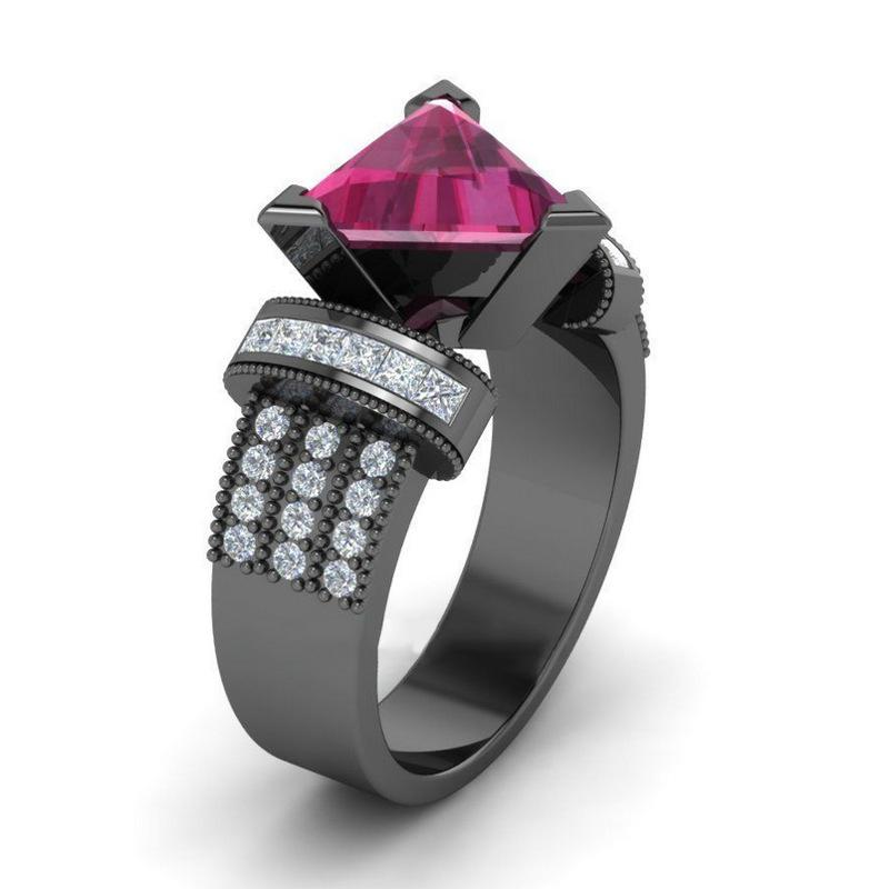 European Fashion OL Ring Triangle Three-dimensional Zircon Copper Plate  With Silver Plating Black Gold Jewelry