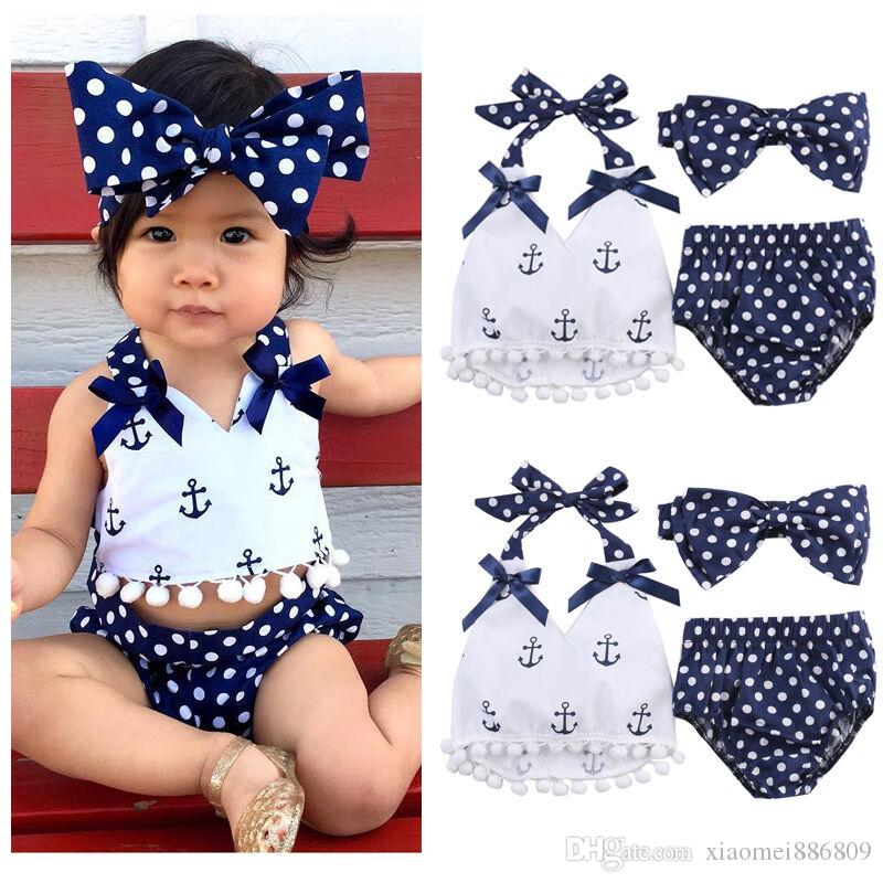 2019 New Summer Baby Girl Vestiti Anchor Sleeveles Top + Polka Dots Slip Outfit Set Tuta da sole 0-24M