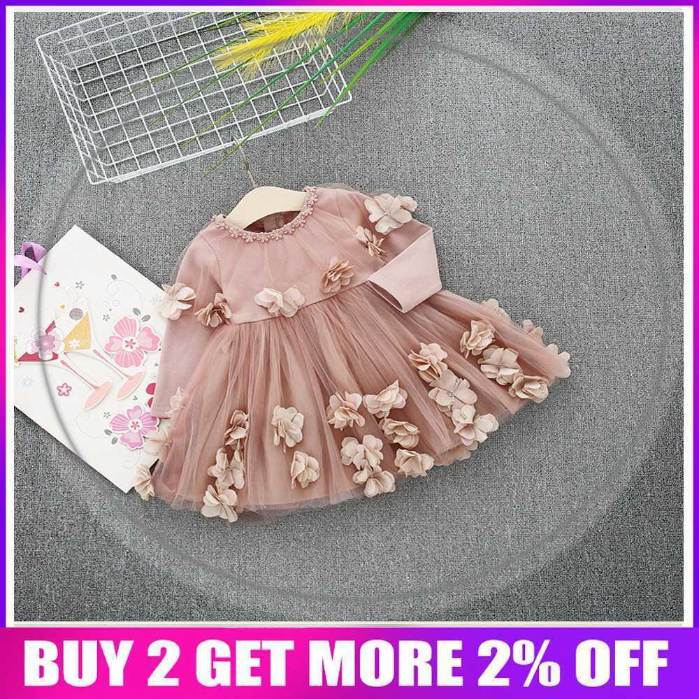 Spring Long Sleeve Mesh Patchwork Flowers Baby Wedding Party Girls Kids Princess Fairy Infants Ball Gown Dress Vestidos S6350 Y19061001