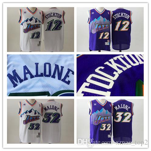 free shipping 4915c 64392 32 Karl Malone Jersey Vintage Purple White 12 John Stockton Retro Jerseys  Hardwood Retro Classics Jazz Snow Mountain Retro Basketball Jersey