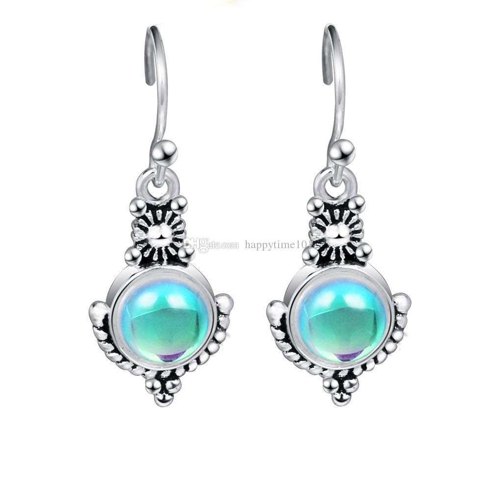 Ethnic Bohemia Dangle Drop Moonstone Earrings For Women Tibetan Silver Earring Vintage Earings Fashion Jewelry Party Gifts