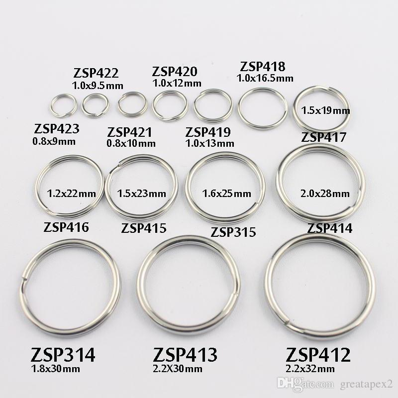 key chain ring 9mm/9.5mm-/10mm/12mm/13/16.5-32mm split double loop ring stainless steel can Mix DIY jewelry 100pcs-500pcs/lot ZSP412-ZSP423