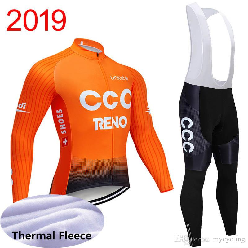 winter thermal fleece 2019 uci world tour pro team CCC cycling jersey mens warmer Long Sleeve Bicycle maillot MTB bike clothing Y040702