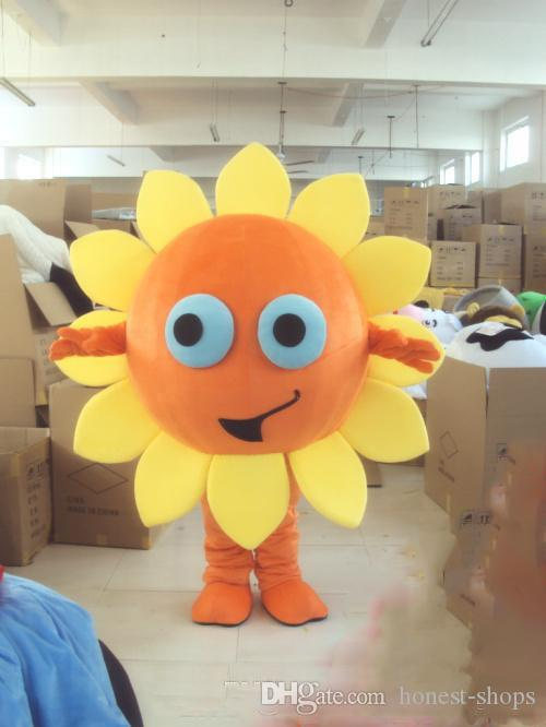 Christmas Carnival Theme Outfit.Halloween Sunflower Heronsbill Mascot Costume Cartoon Sun Flower Anime Theme Character Christmas Carnival Party Fancy Costumes Adult Outfit