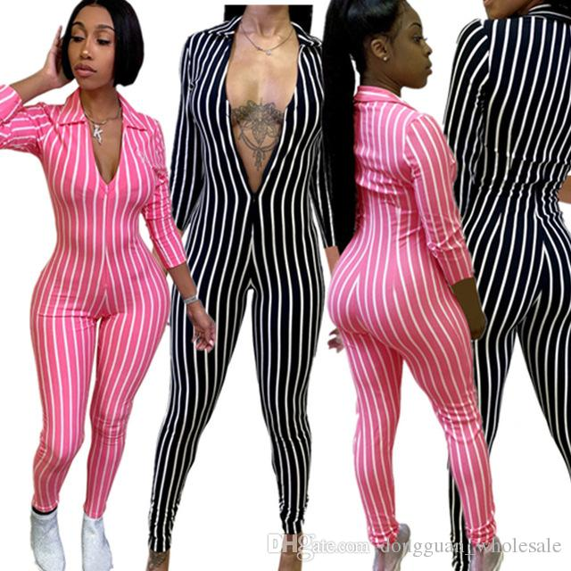 fdb5c0ede870 2019 Front Zipper Sexy Striped Slim Jumpsuit Women Turn Down Collar Long  Sleeve Casual Catsuit 2019 High Street Party Overall From  Dongguan wholesale