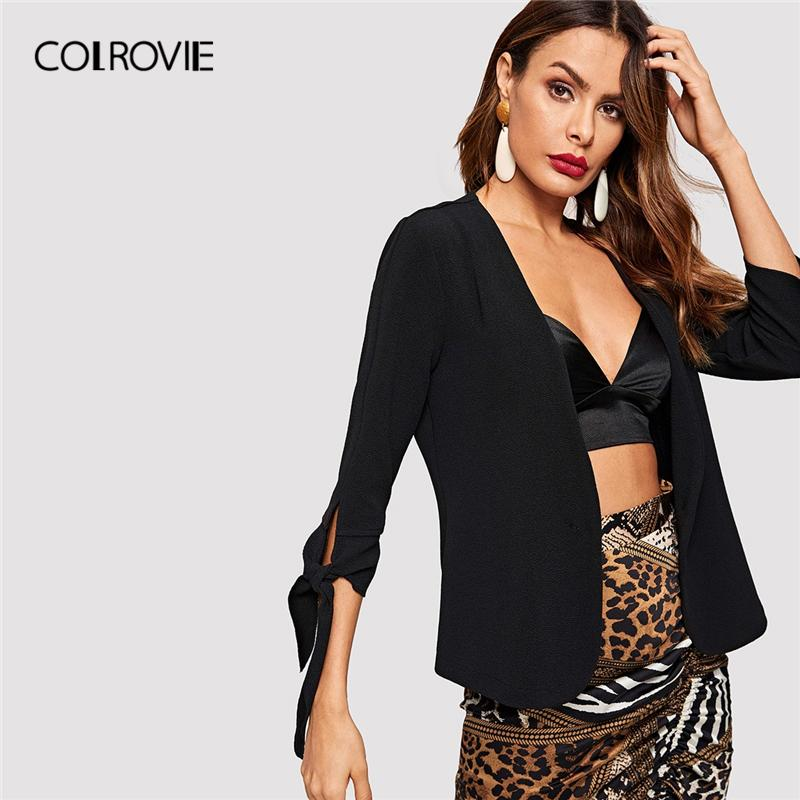 COLROVIE Black Solid Knot Sleeve Slim Office Ladies Blazer Femme Jacket Women Clothing 2019 Spring Fashion Workwear Blazer