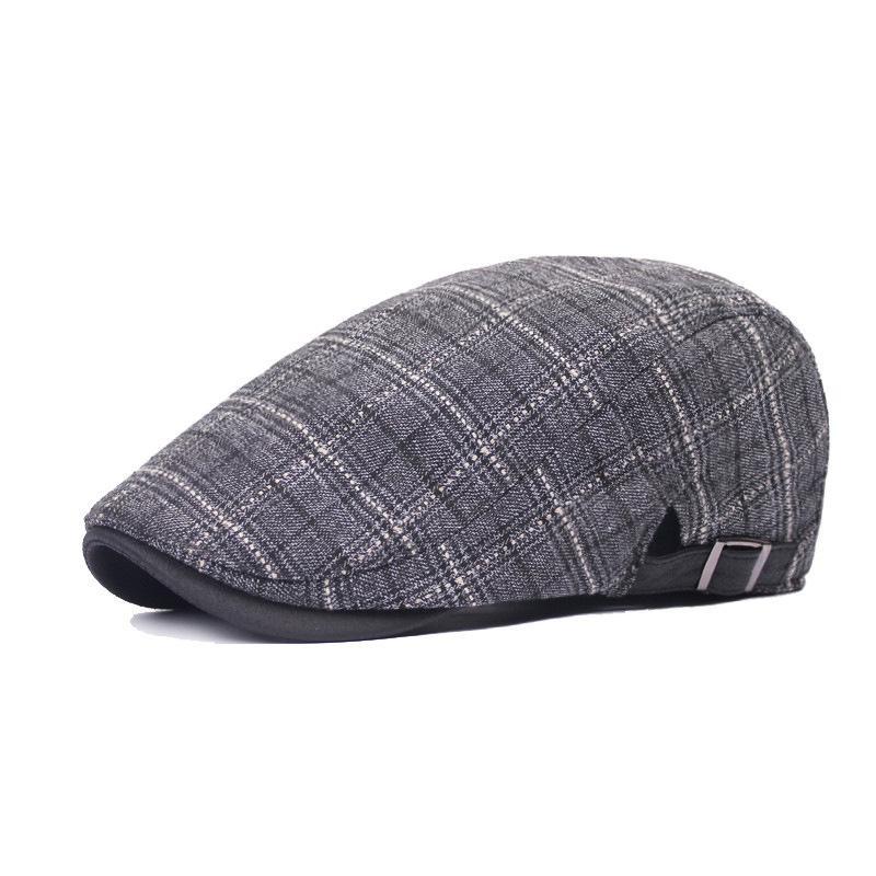 004d2e3b79b8b Adjustable Autumn Winter Caps for Men Women Plaid Winter Wool Berets ...