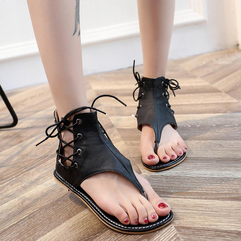 e7b7ee143 2019 Fashion Women Sandals Cross Tied Summer Women Flat Sandals Casual Beach  Ladies Shoes Female Footwear VT191 Walking Sandals Sandals From  Zhangqinfan