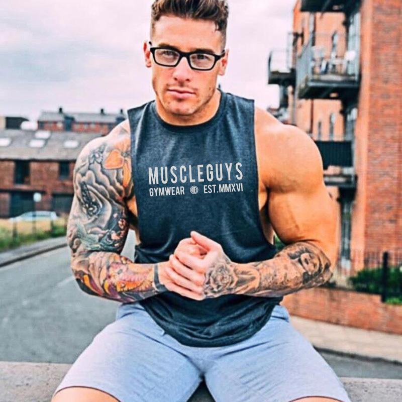 Muscleguys Brand Fitness Tank Top Men Undershirt Sleeveless Shirt Summer  Oversized Muscle Bodybuilding Vest Streetwear Tops